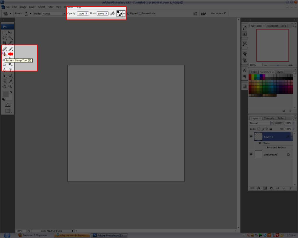 Brush: Sử dụng pattern như một brush (cọ) để \