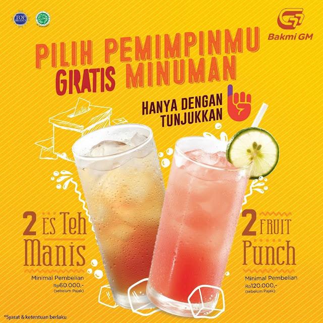 #BakmiGM - #Promo Gratis Minuman Dengan Tunjukan Jari Setelah Nyoblos (17 April 2019)