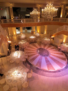 formal wedding dancefloor in a museum