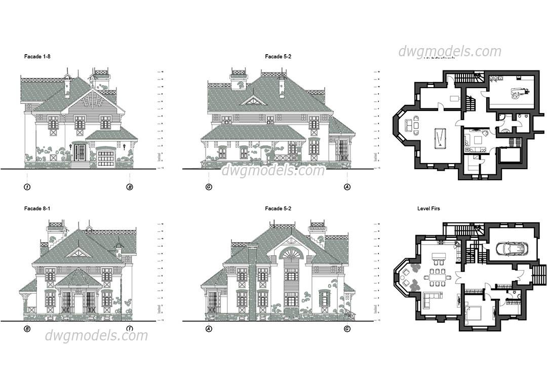 Exemples et plans de villas maisons en dwg cad ana mohandis for Plan villa style americain gratuit