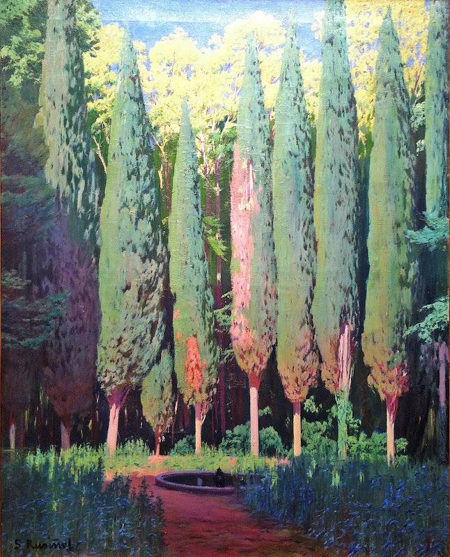 Cipreses en Aranjuez, Santiago Rusiñol y Prats, Pintor español, Jardines y Parques, Pintores Catalanes, Pintura española, Jardines de Aranjuez, Jardines de españa, Paisajes de Santiago Rusiñol, Jardins d'espanya