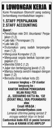 Lowongan Kerja Di Koran Riau Pos Pekanbaru Hari Ini Info Seputar Kerjaan