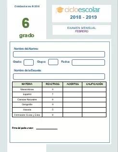 Examen Mensual Sexto grado 2018-2019