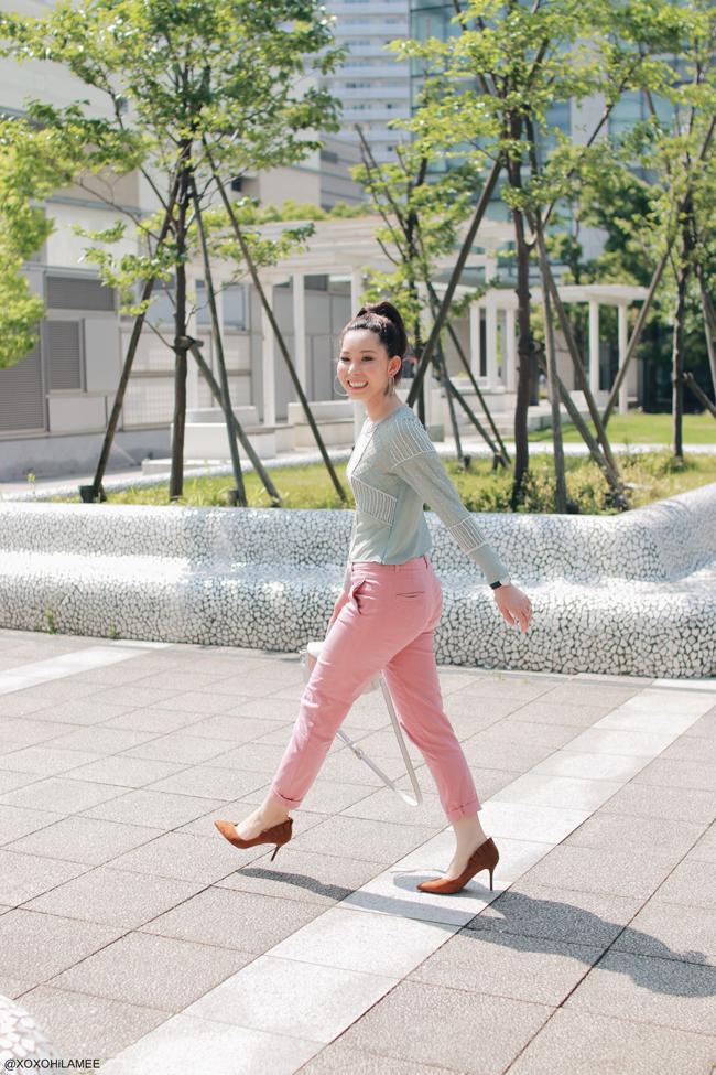 日本人ファッションブロガー,MizuhoK,20170528,今日のコーデ,Lily Brown-パステルグリーンビーズ刺繍ブラウス,ZARA-ピンククロップドパンツ,SheIn-ブラウンフリルパンプス,シルバーハンドバッグ,Angreas Ingeman-ブルーオスロ腕時計,ループイヤリング,フェミニンシックスタイル