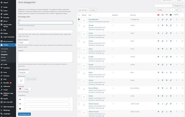WooCommerce Toplu Ürün Kategorileri Ekleme, Düzenleme, Silme