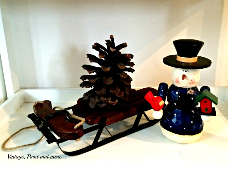 Vintage, Paint and more... snowman nutcracker with a vintage sled and pine cone tree
