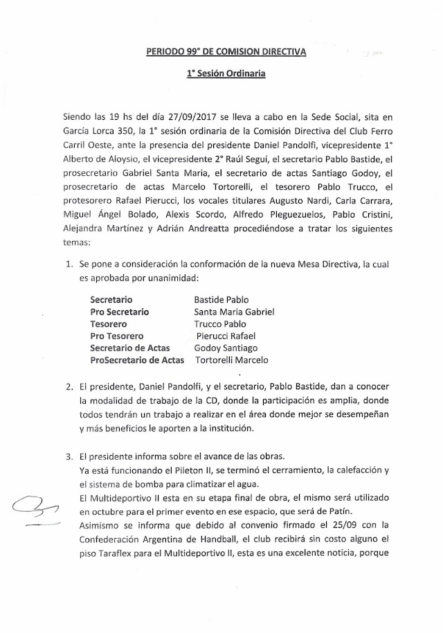Acta de la primer sesión ordinaria de la Comisión Directiva