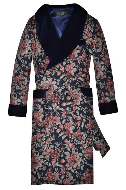 mens luxury floral dressing gown silk smoking jacket robe velvet