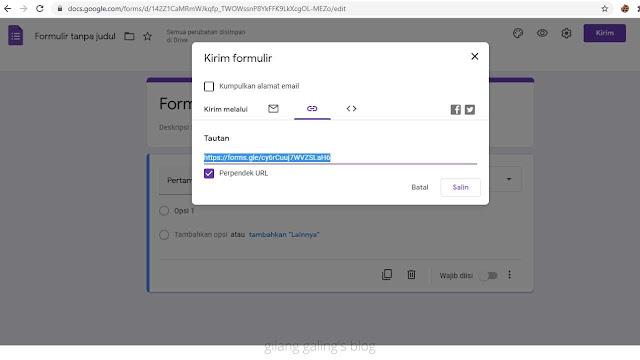 Cara Perpendek URL Google Form