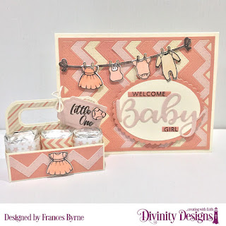 Divinity Designs Stamp_Die Duos_ Bless This Baby_ Baby Clothesline_ Custom Dies_ Chevron Background_ Ovals_ Scalloped Ovals_ Sentiment Strips_ Candy Carrier_ Paper Collection_ Baby Girl
