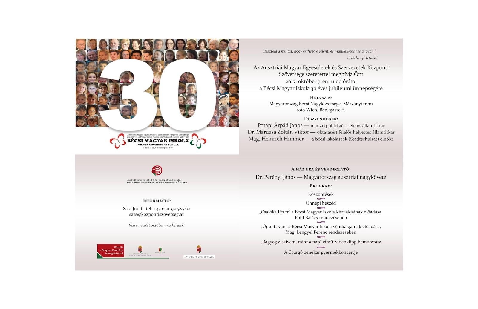 születésnapi meghívó szöveg felnőtt 30 éves a Bécsi Magyar Iskola | Ausztriai Magyar Egyesületek és  születésnapi meghívó szöveg felnőtt