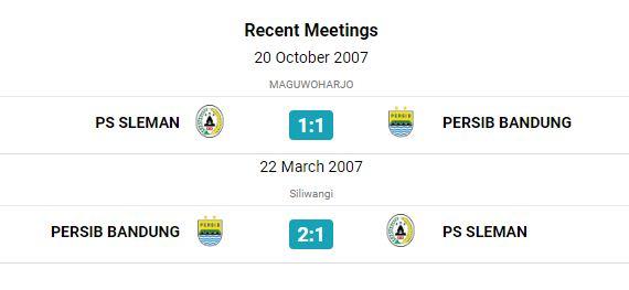 Head to Head & Statstik Persib Bandung vs PSS Sleman