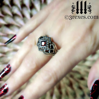 royal princess gothic engagement ring with garnet stone and love stacking rings - Medieval Wedding Rings