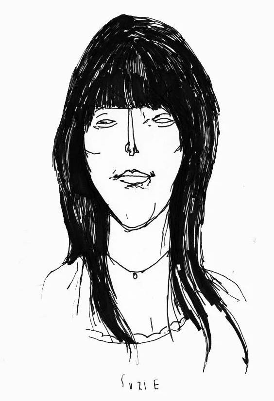 Drawing with crooked lines of a woman with dark hair. Cartoon version of Suzie Zeldin