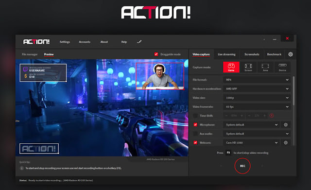 Action Screen Recorder - Software Perekam Layar PC Terbaik Windows