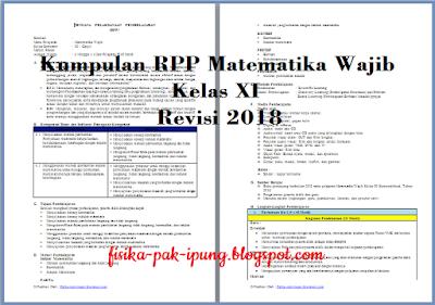 RPP Matematika Wajib Kelas XI Matriks K13 Revisi 2018