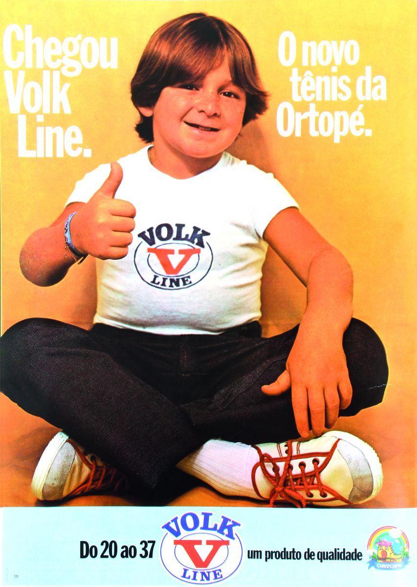 Propaganda antiga da Ortopé em 1977 com o garoto Ferrugem