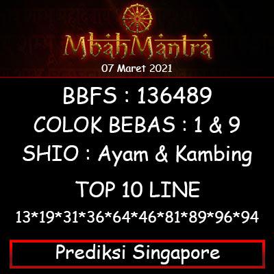 Prediksi Angka Singapore 07 Maret 2021