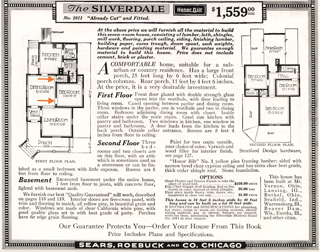 black and white catalog page section: Sears Silverdale, description and floor plans, 1918 Sears Modern Homes catalog