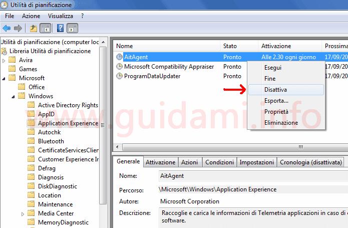 Utilità di pianificazione disattivare azione pianificata di telemetria dal menu contestuale