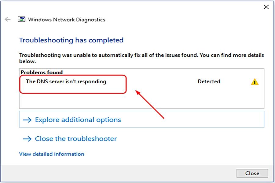 حل مشكلة الخادم لا يستجيب DNS server isn't responding