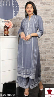 Holi Price Drop on Women's Printed Rayon Kurta Set with Palazzos  Fabric: Kurti - Rayon, Palazzo - Rayon Sleeves: Sleeves Are Included Size: Kurti: S - 36 in, M - 38 in, L - 40 in, XL - 42 in, XXL - 44 in, XXXL - 46 in, 4XL - 48 in, 5XL - 50 in, Palazzo - S - 28 in, M - 30 in, L - 32 in, XL - 34 in, XXL - 36 in, XXXL - 38 in, 4XL - 40 in, 5XL - 42 in Length: Kurti - Up To 46 in, Palazzo - Up To 39 in Type: Stitched Description: It Has 1 Piece Of Women's Kurti With 1 Piece Of Palazzo  Work: Kurti - Printed, Palazzo - Printed Dispatch: 1 Day