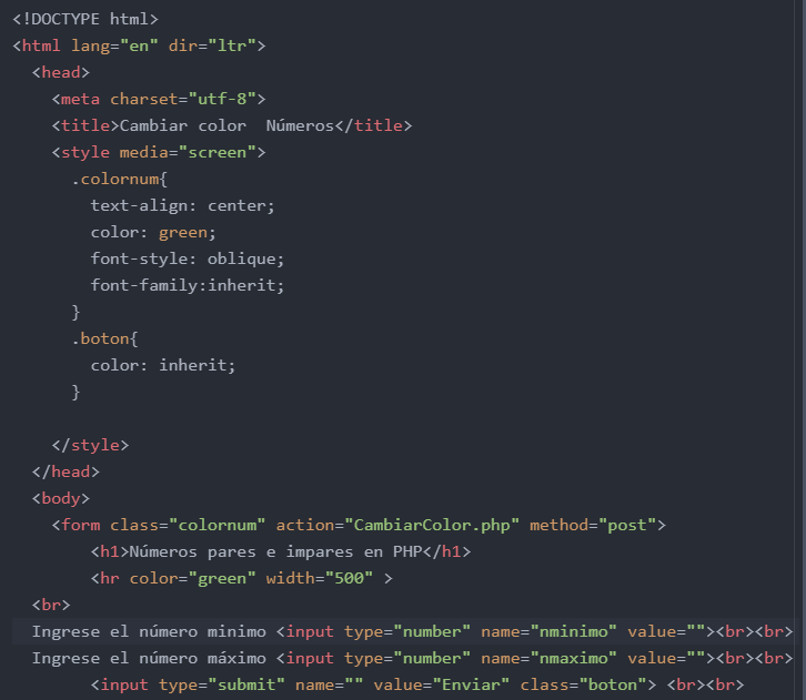 Cambiar color de números en php