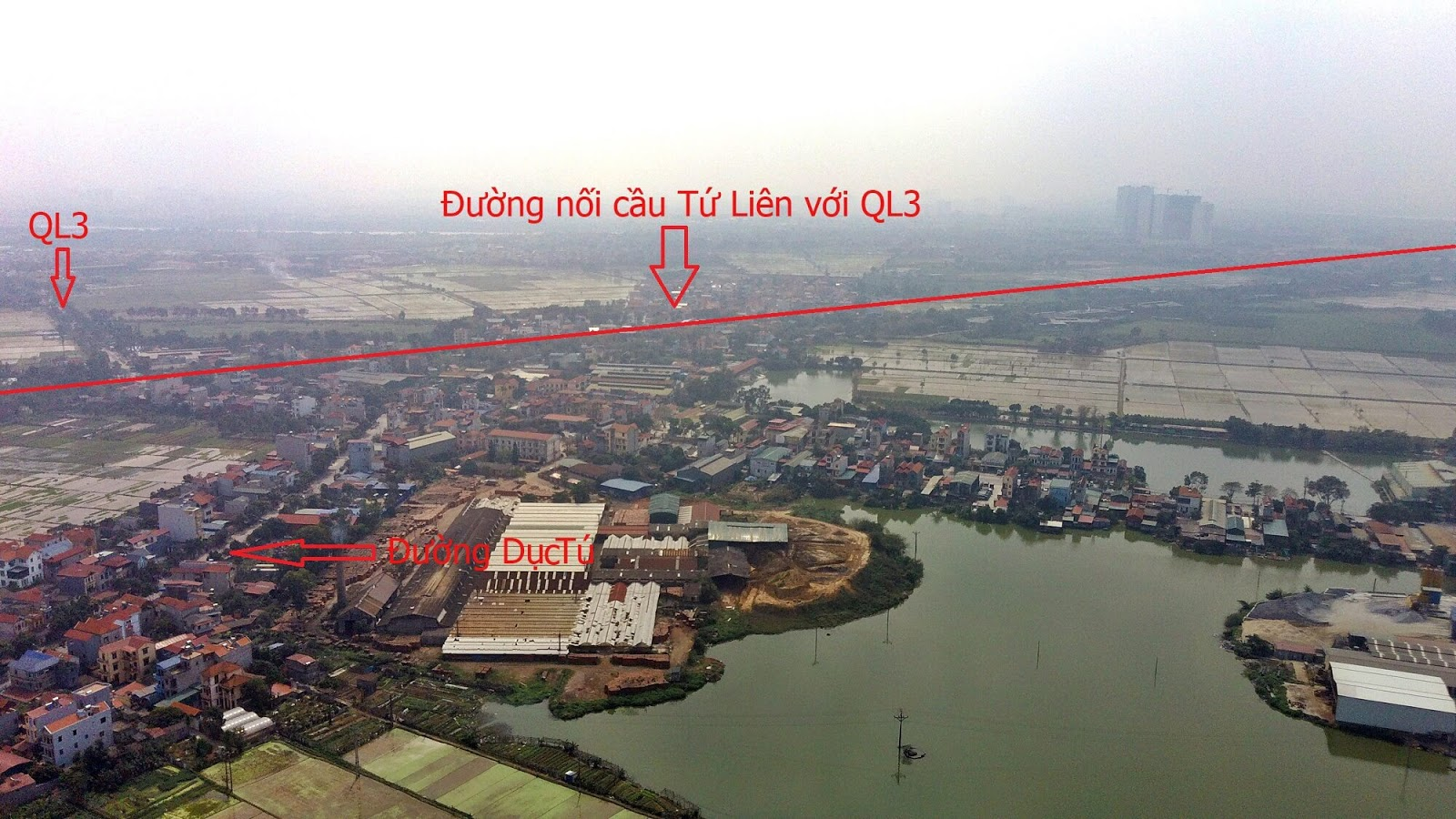 Nút giao đường dẫn cầu Tứ Liên và QL3 ( Trục cao tốc Hà Nội - Thái Nguyên ).