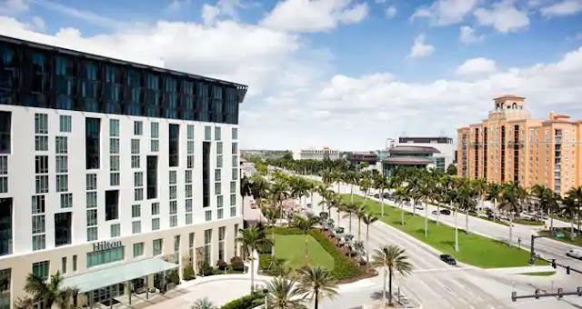 The Hilton Hotel in West Palm Beach, FL, attached to the Palm Beach Convention Center, exceeds expectations with onsite dining and premier amenities.