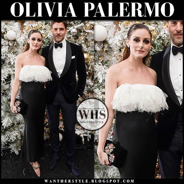 Olivia Palermo in black and white strapless satin gown with ruffles from Jason Wu at NYBG winter wonderland ball 2019