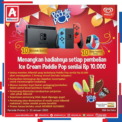 Undian Ice Cream Paddle Pop Berhadiah 10 Nintendo Switch Dan 10 Smartwatch Imoo