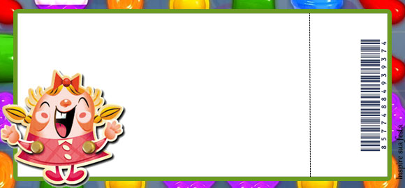 Tarjeta con Forma de Ticket de Fiesta de Candy Crush.
