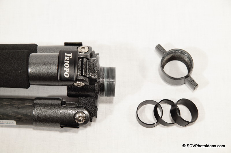 Triopo GX-1328 center column wing nut & lock rings detail