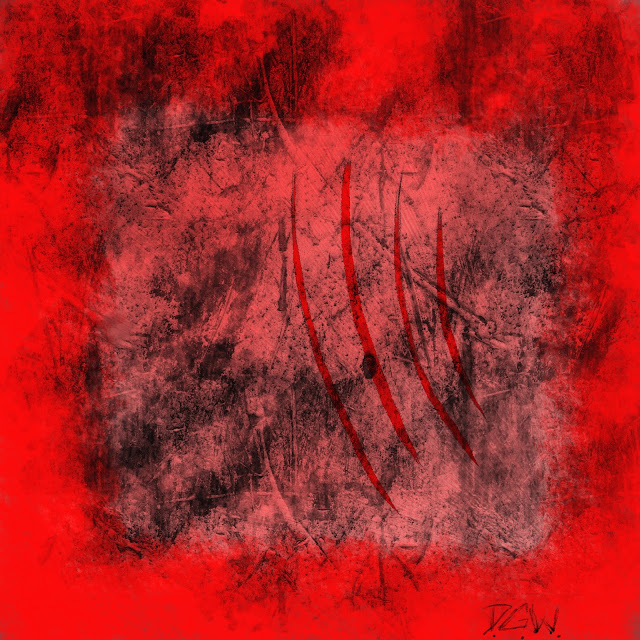 abstract red art with bleeding claw scratches for album cover