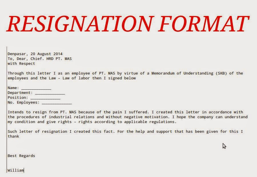 Resign Letter Format Because Of Marriage – Sample of Resignation Letter for Employee