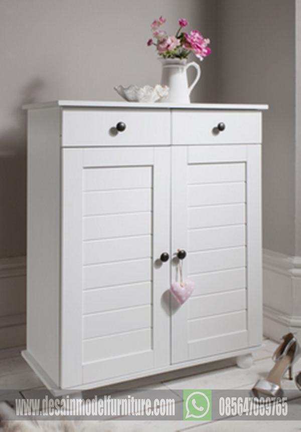 lemari sepatu minimalis warna putih mewah