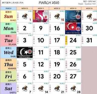 Kalendar Cuti Umum Malaysia 2020 (Hari Kelepasan Am)