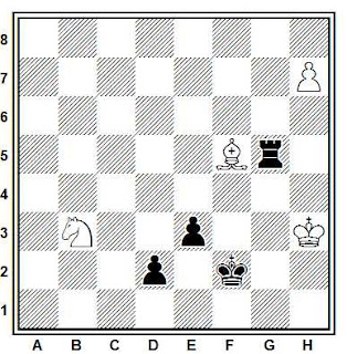 Estudio artístico de ajedrez compuesto por T. Whitworth  (British Chess Magazine, 1986)