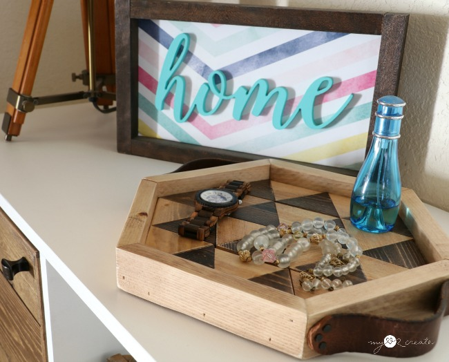 How to make a Triangle Hexagon Tray using a miter saw, full picture tutorial at MyLove2Create