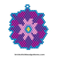 Free brick stitch seed bead earring pattern color chart.