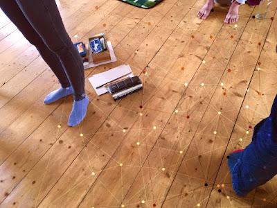 Beine auf Holzboden, Punkte, alles ist miteinander verbunden
