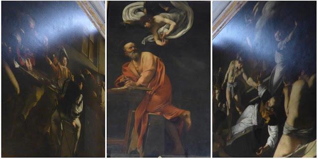 Cuadros Vocación de San Mateo, San Mateo y el Ángel, Martirio de San Mateo de Caravaggio en la iglesia de San Luidi dei Francesi de Roma