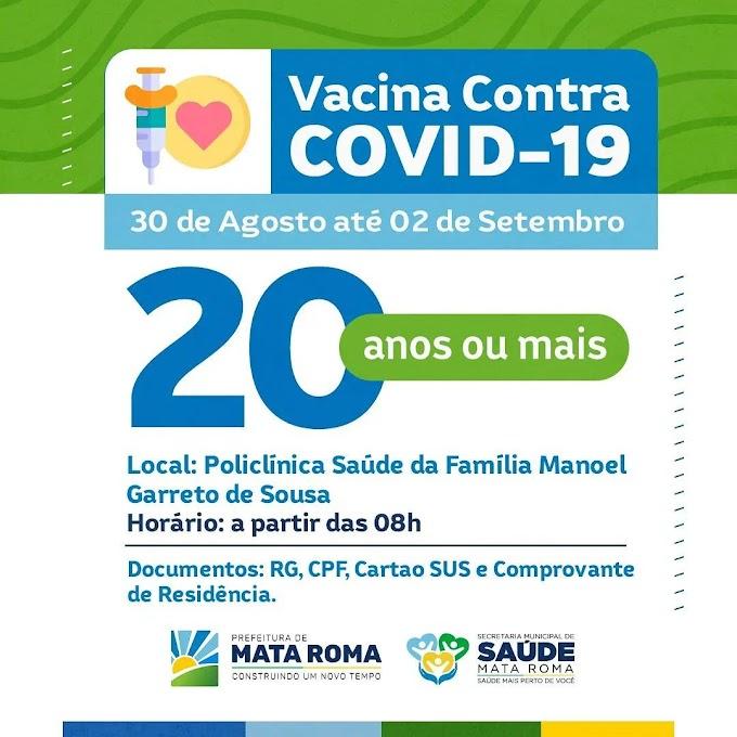 Secretaria de Saúde informa a população que no dia 30/08 a vacina de imunização contra a Covid-19 será destinada ao público de 20 anos ou mais.