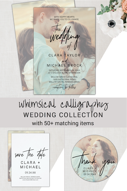 photo wedding invitation, calligraphy save the date card, picture thank you favor sticker