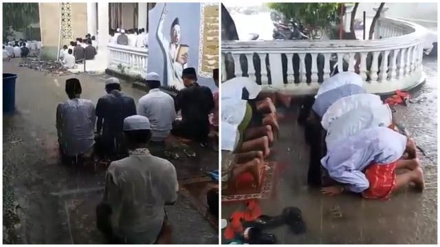 Subhanallah! Viral Video Santri di Madura Tetap Shalat Jumat walau Hujan Deras