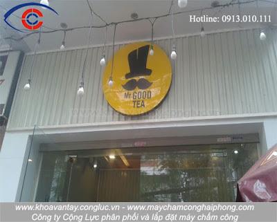 Thi công lắp đặt hệ thống máy chấm công tại cửa hàng trà sữa chân trâu Mr.Good Tea, Phạm Ngũ Lão, Hải Phòng.