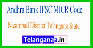 Andhra Bank IFSC MICR Code Nizambad District Telangana State