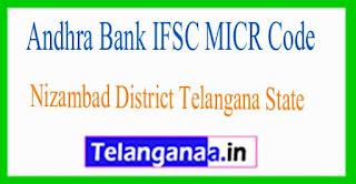 Andhra Bank IFSC MICR Code Nizambad District Telangana State