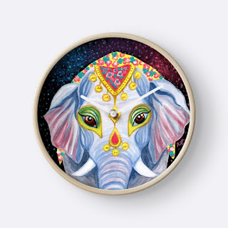 Indian holi elephant wall clock