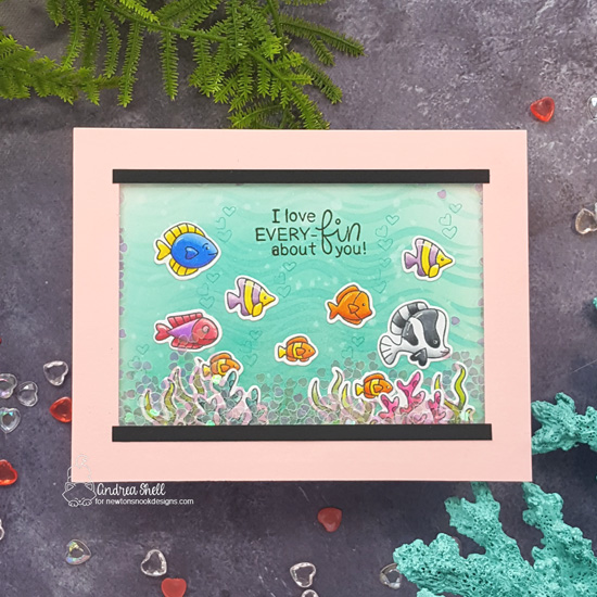Fish Tank Valentine Card by Andrea Shell | Tides of Love Stamp Set, Scuba Newton Stamp Set and Waves Stencil by Newton's Nook Designs #newtonsnook #handmade
